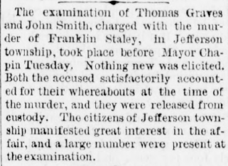 Aug 16 1877 article release of graves and smith